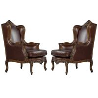 Pair of Mahogany Leather Louis XV Wing Chairs For Sale at ...