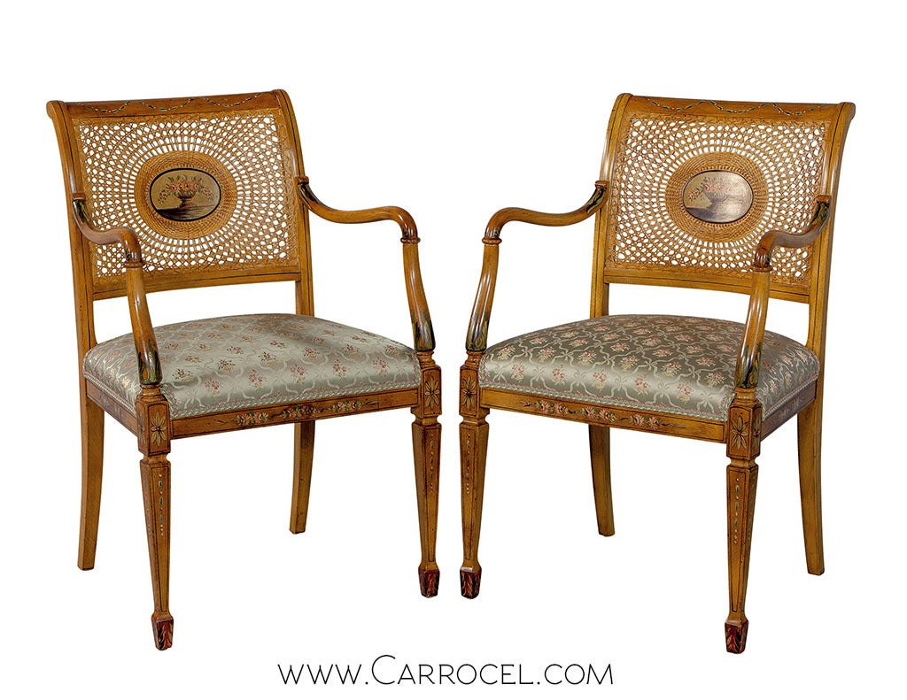 Cane Dining Chairs Set Of Twelve Adam Style Cane Dining Chairs At 1stdibs