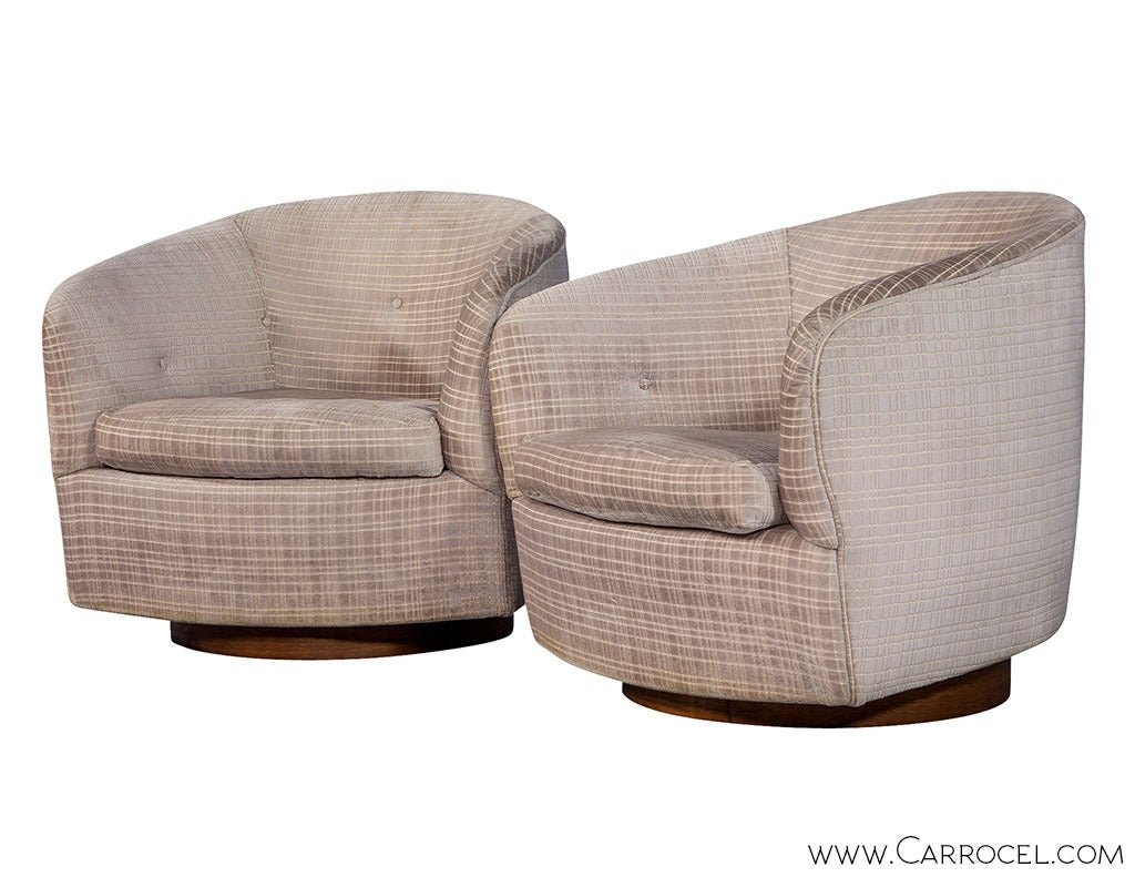 Barrel Chair Swivel Pair Of Original Milo Baughman Swivel Barrel Chairs At 1stdibs