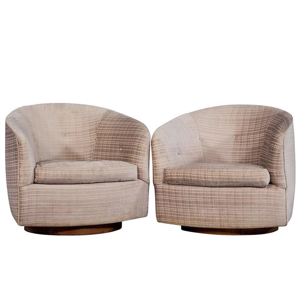 Pair of Original Milo Baughman Swivel Barrel Chairs at 1stdibs