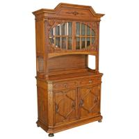 Antique German Carved Renaissance Buffet China Cabinet at