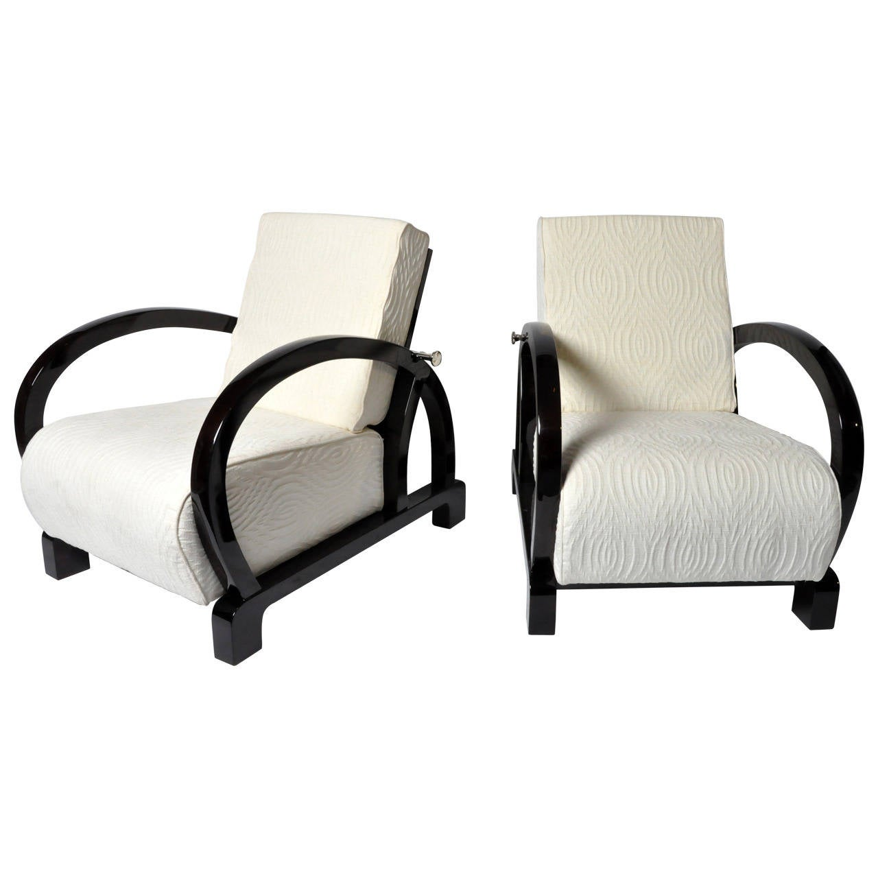 art deco style club chairs ergonomic kneeling chair nz pair of lounge at 1stdibs