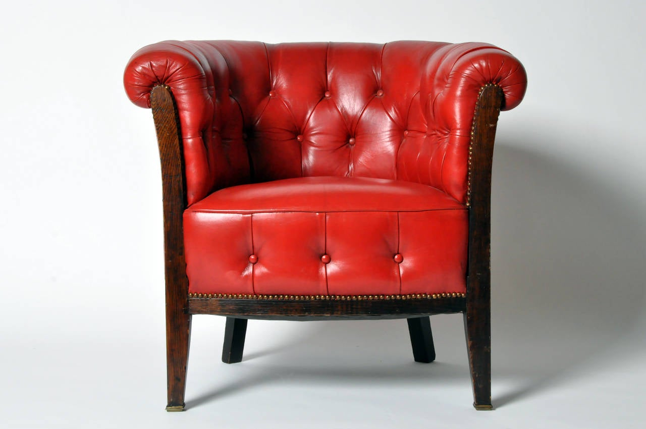 Tufted Leather Chair Vintage Tufted Red Leather Chair At 1stdibs