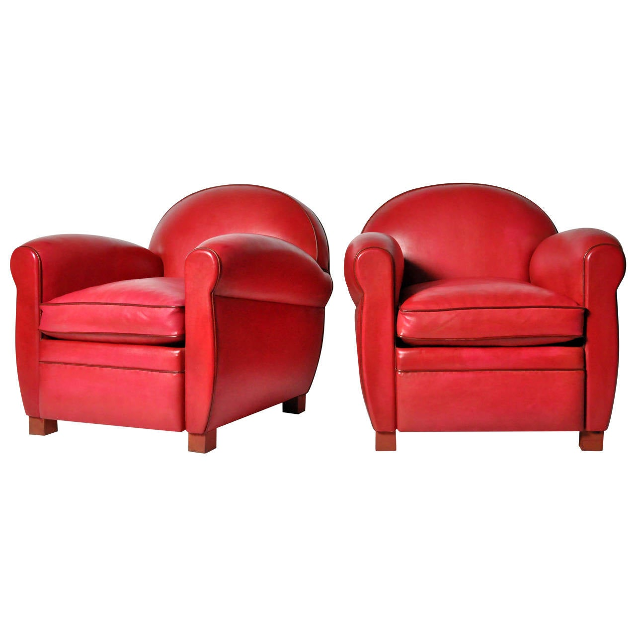 red club chair rentals sacramento pair of round back leather chairs at 1stdibs