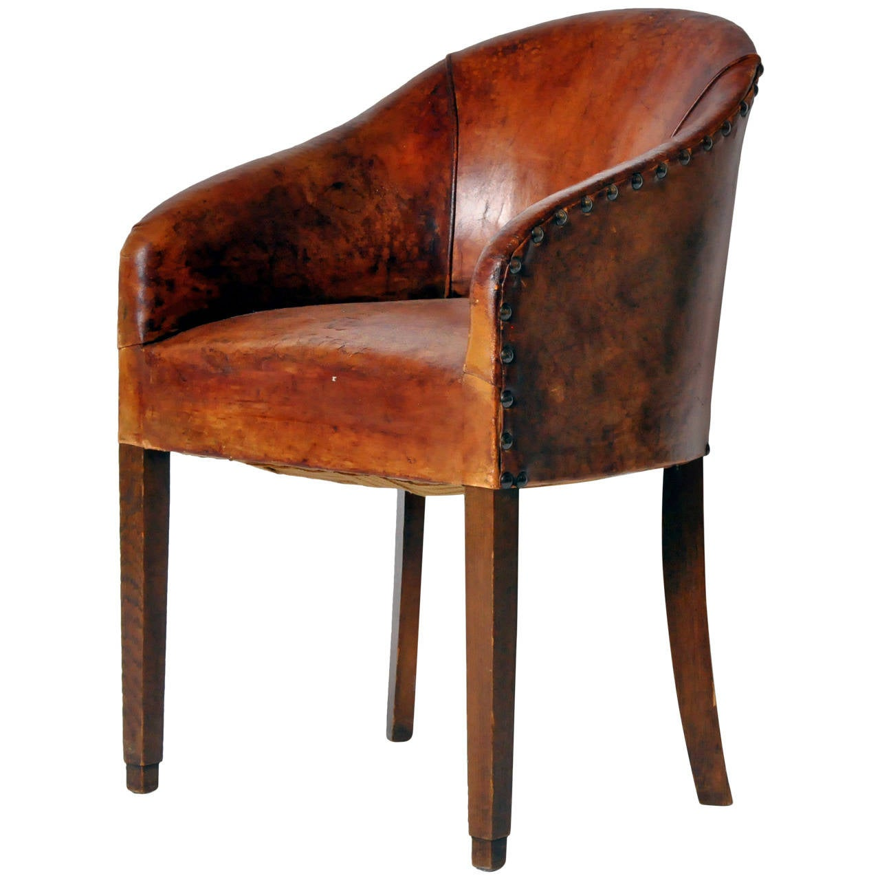 leather tub chair unfinished kitchen chairs french at 1stdibs