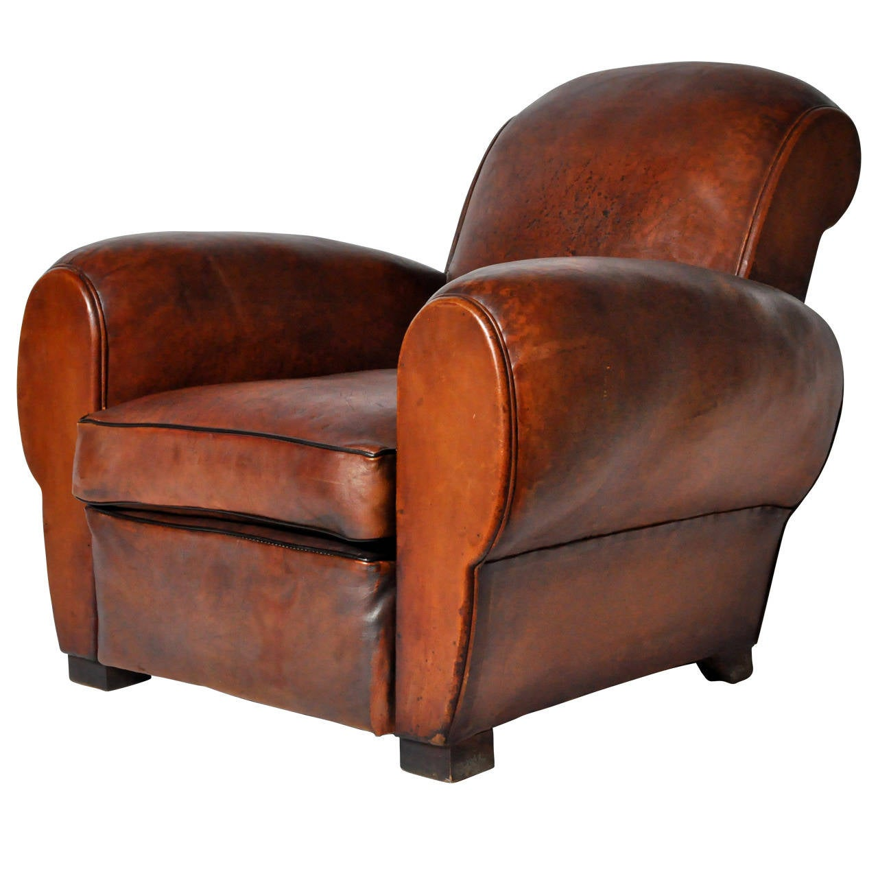 Club Chair Leather Vintage French Leather Club Chair At 1stdibs