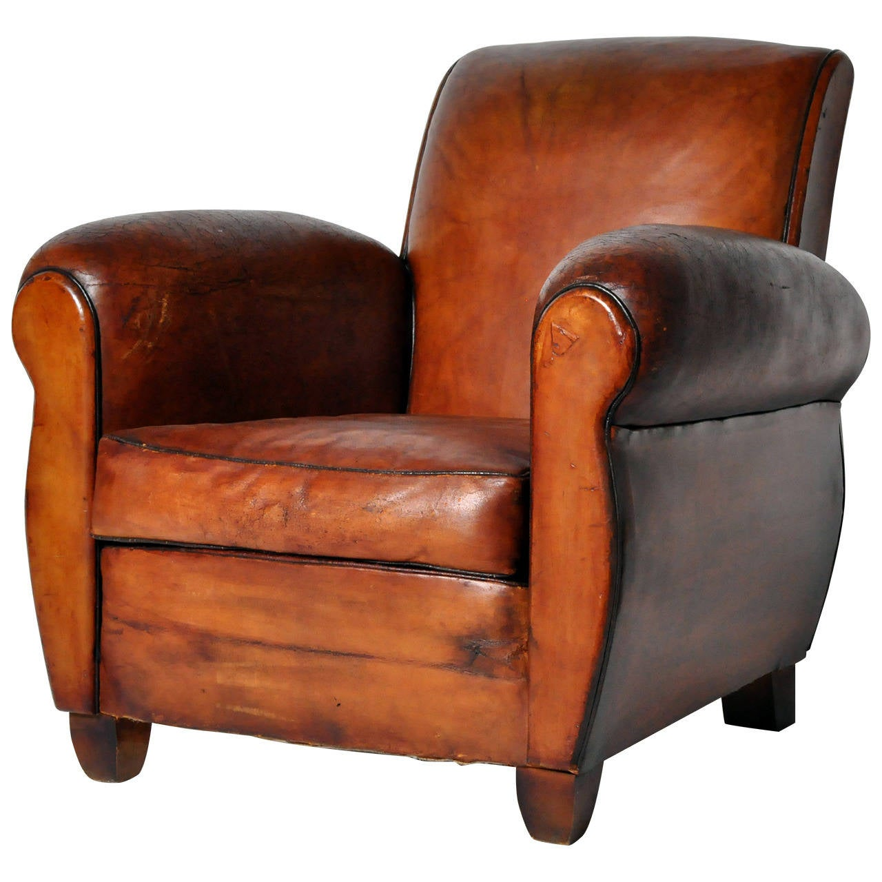 Wood Club Chair Vintage French Leather Club Chair