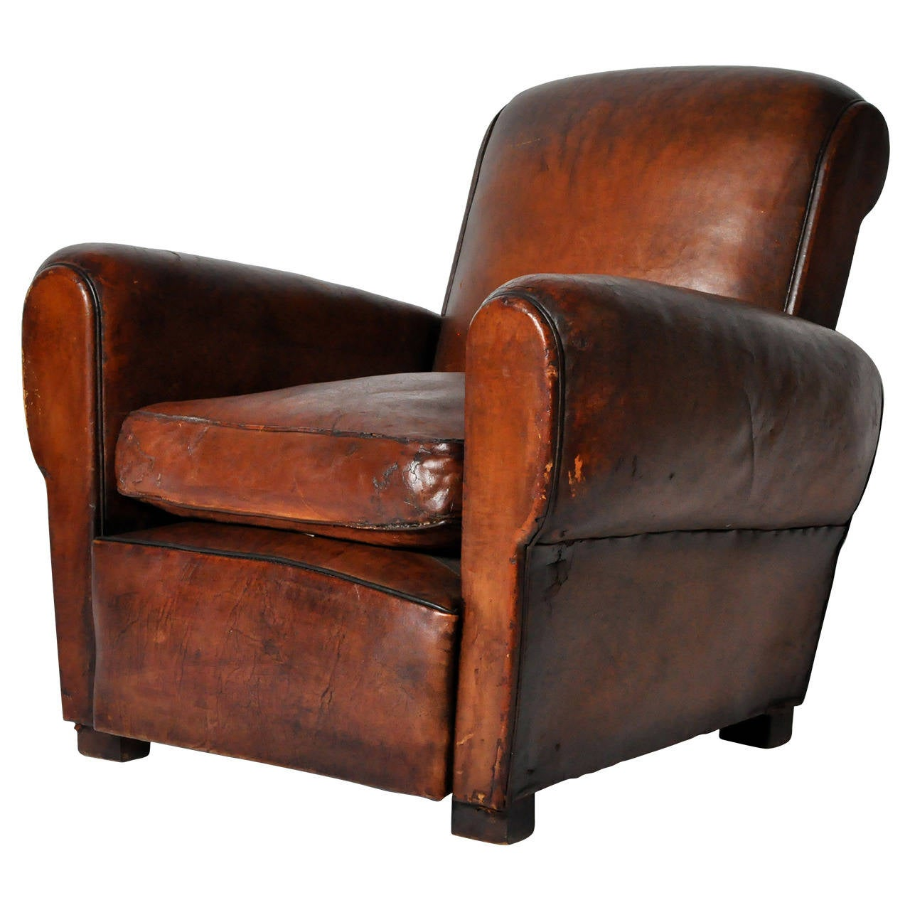 Vintage Club Chairs Vintage French Leather Club Chair At 1stdibs