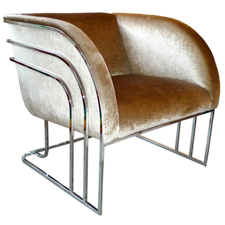 Milo Baughman Chrome Art Deco Club Chair at 1stdibs