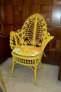 Antique Yellow Painted Wicker Fiddelhead Chair at 1stdibs
