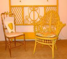 Antique Yellow Painted Wicker Fiddelhead Chair 1stdibs