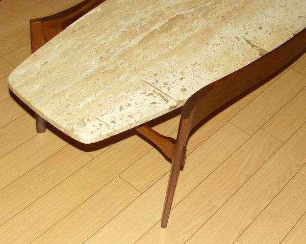 Oblong Travertine Marble And Walnut Cocktail Table 1stdibs