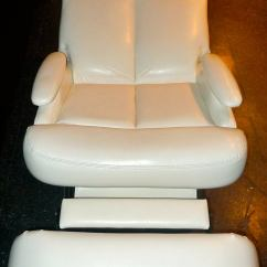 Faux Leather Chair Repair Wood Dining Pair Of 1980's Reclining Swivel White Lounge Chairs For Sale At 1stdibs
