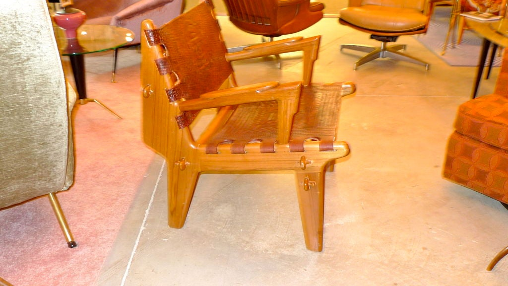 midcentury rocking chair high gloss white dining table and chairs ecuadorian tooled leather lounge for sale at 1stdibs