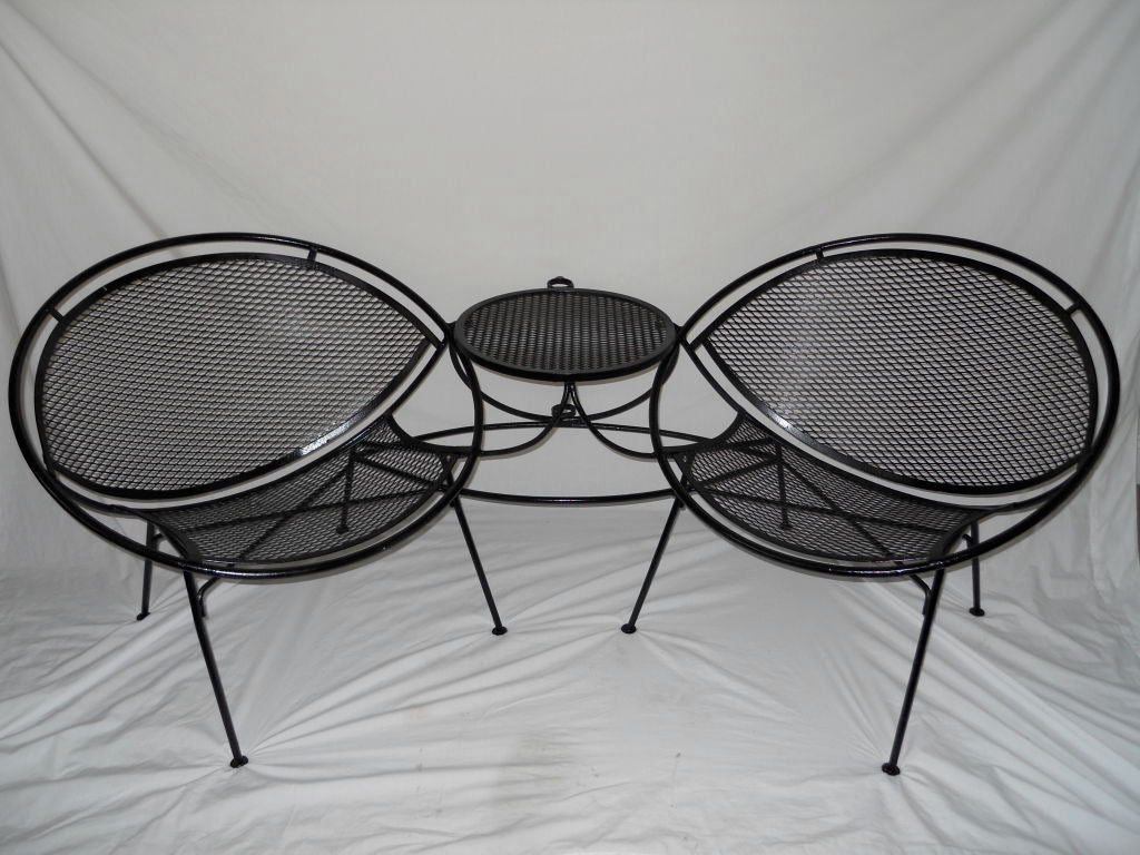 tete a chair outdoor 3 piece table and chairs vintage by salterini at 1stdibs