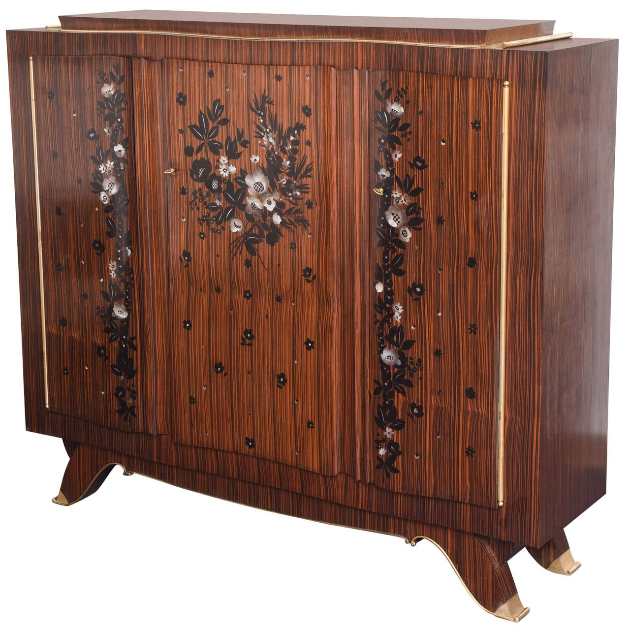 french art deco jules leleu macassar and mother of pearl cabinet for sale