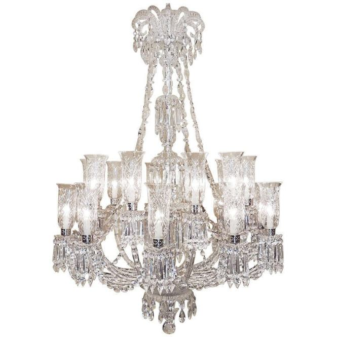 Monumental 1860s Rare Hand Cut Bamboo Crystal Twenty Arm Baccarat Chandelier For