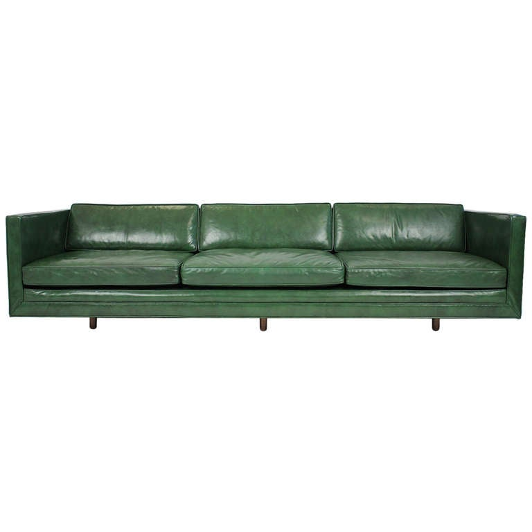 dark green leather sofa retro bed harvey probber at 1stdibs for sale