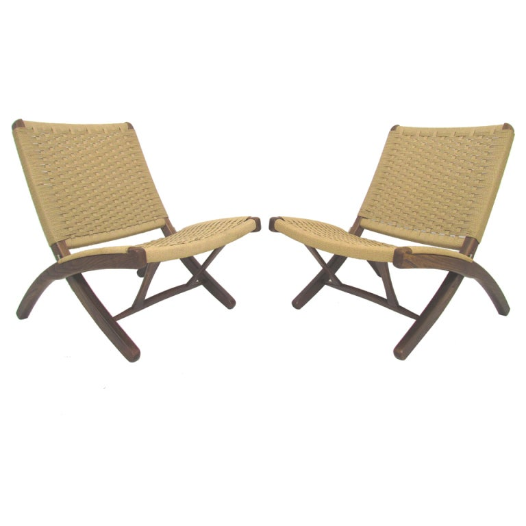 Pair of Wegner Style Japanese Rope Chairs ca. 1960s at 1stdibs