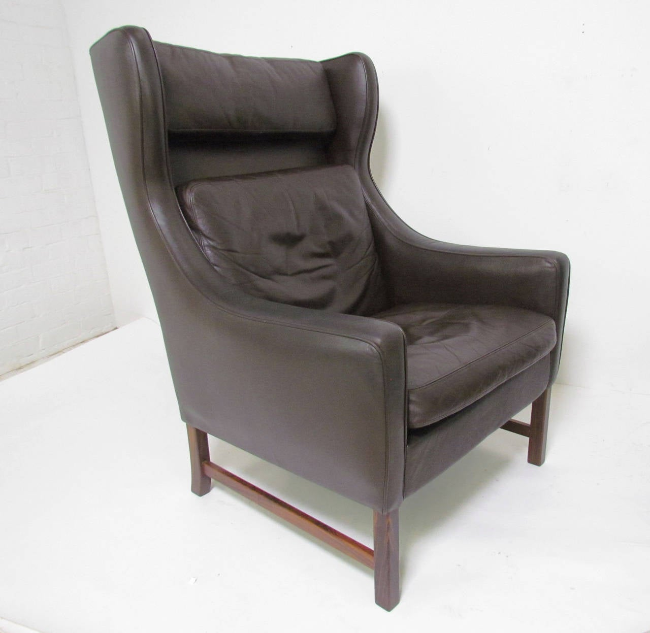 Modern Wing Chair Pair Of Danish Modern Wingback Leather Lounge Chairs By