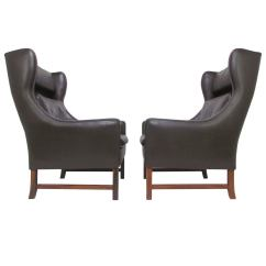 Modern Wing Chair Casual Dining Chairs Pair Of Danish Wingback Leather Lounge By
