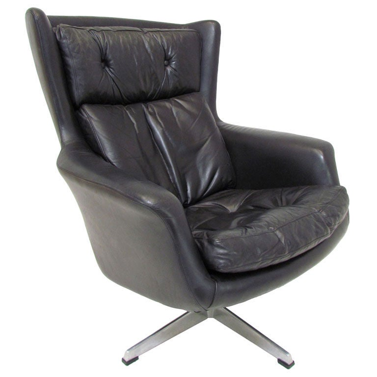 Danish Leather High Back Swivel Lounge Chair ca 1970s at