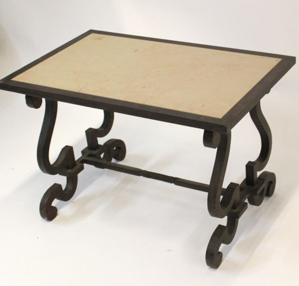 Limestone And Wrought Iron End Table 1stdibs