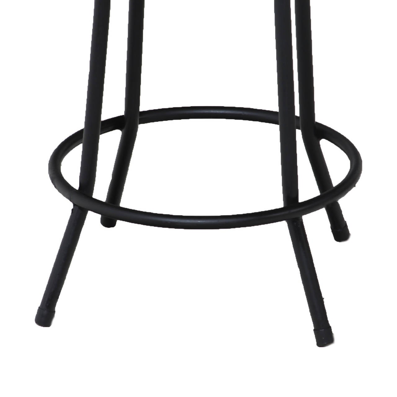Set Of 4 Mid Century Tall Iron And Leather Stools With
