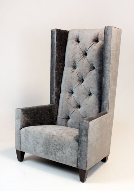 high back tufted chair bedroom with rail colors single gray silk velvet at 1stdibs american for sale