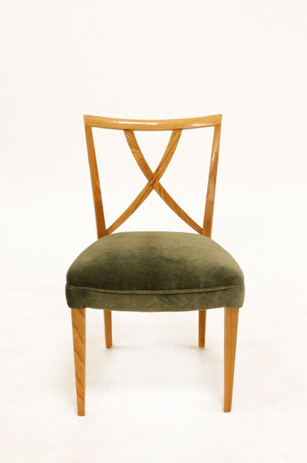Set Set Eight Paul Frankl Dining Chairs In Green Mohair At