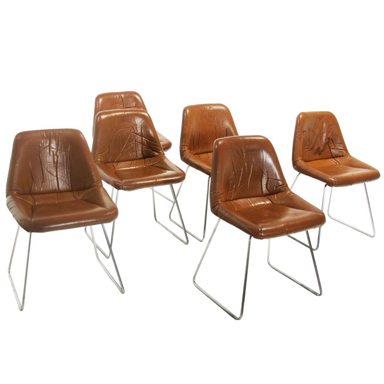 leather and chrome chairs crazy creek air chair set of six zalszupin for l 39atelier