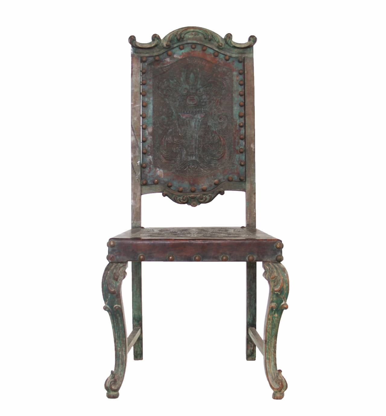 Rustic Vintage Gothic Revival Leather Embossed Side Chair