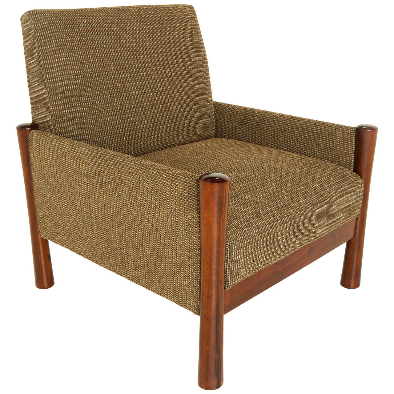 upholstered chairs with wooden arms retro dining chair mid century brazilian sculptural wood legs and tweed