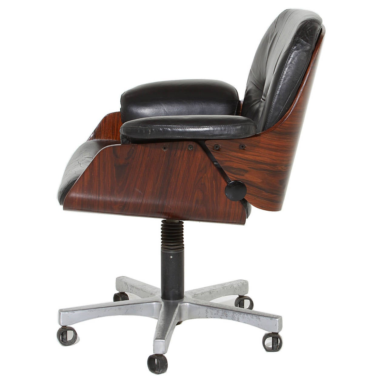 Vintage Chairs Vintage Office Chair In Rosewood And Black Leather At 1stdibs