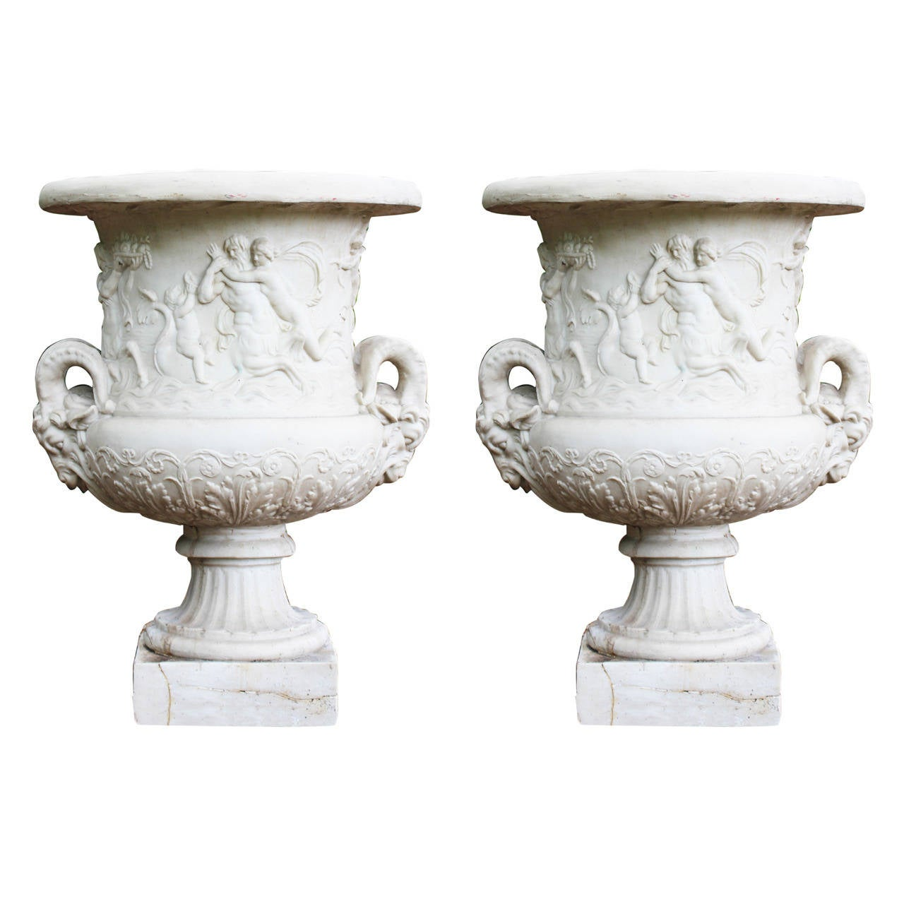 Pair Of Large Classical Style Resin Urns At 1stdibs