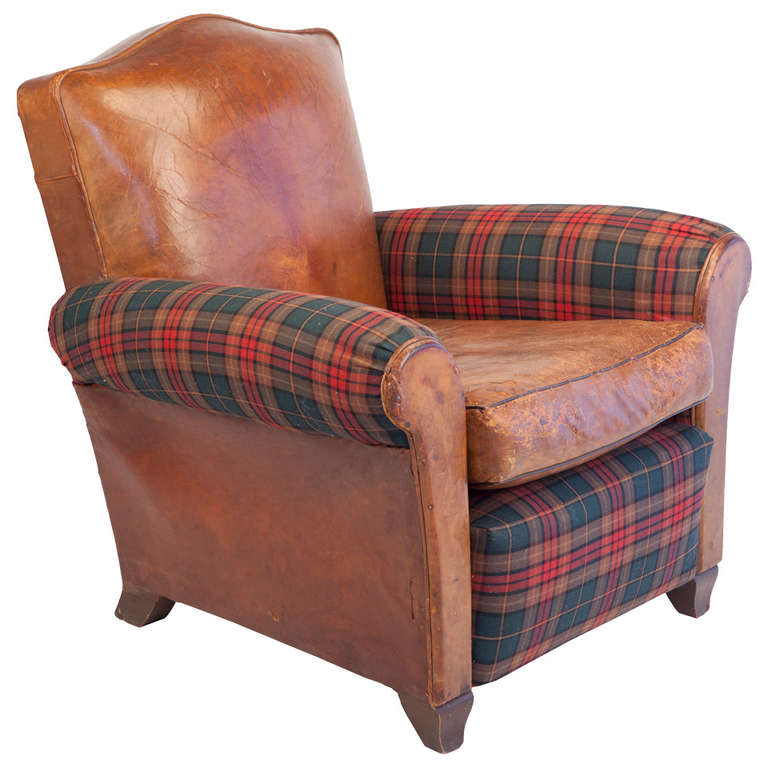 small leather club chairs potty chair for boy scale in and tartan plaid sale at 1stdibs