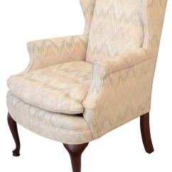 Wingback Chair For Sale Larry Kayak Queen Anne Style Upholstered Wing At 1stdibs