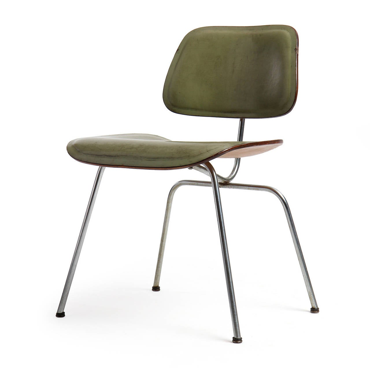 eames leather chair dining ergonomic sit stand dcm by charles and ray for sale at 1stdibs