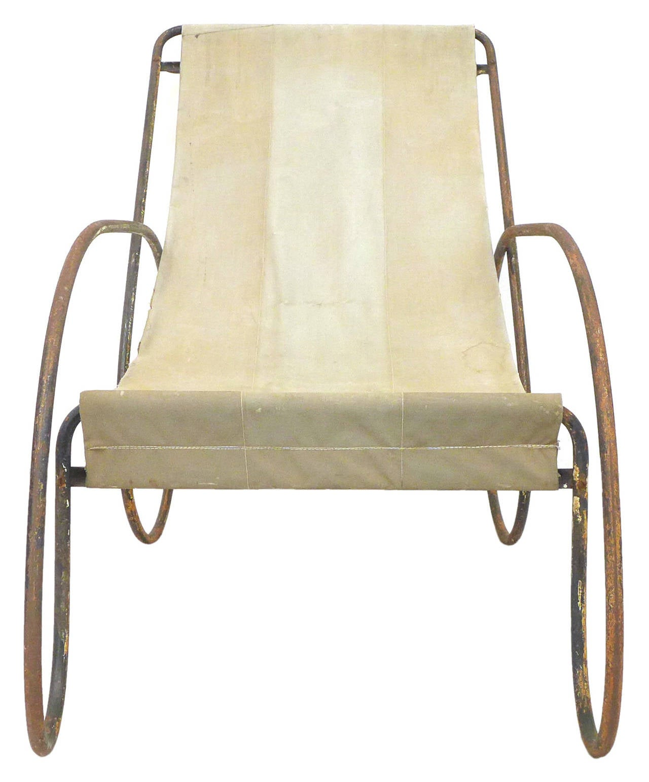 Canvas Sling Chair Pair Of Unusual Tubular Steel And Canvas Sling Lounge