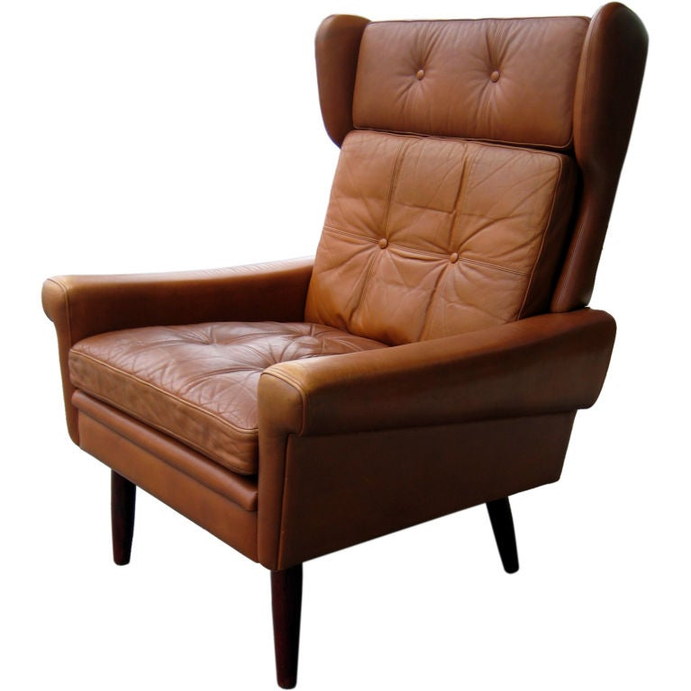 reclining wingback chair grey bathroom safety shower tub bench a scandinavian leather wing back circa 1960's at 1stdibs