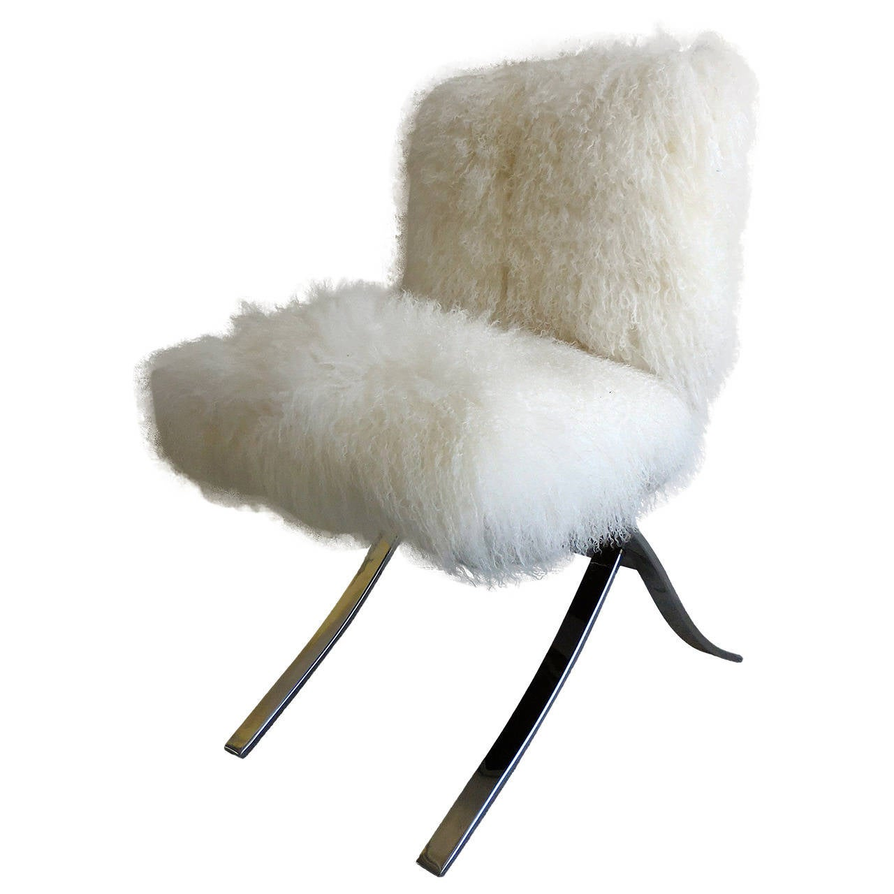Playfully Fluffy ChromePlated Chair Upholstered in
