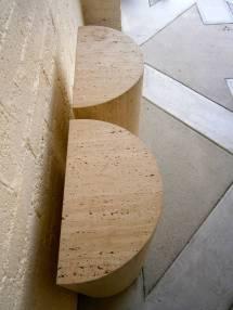 Imposing Pair Of Semi-circular Travertine Table Bases