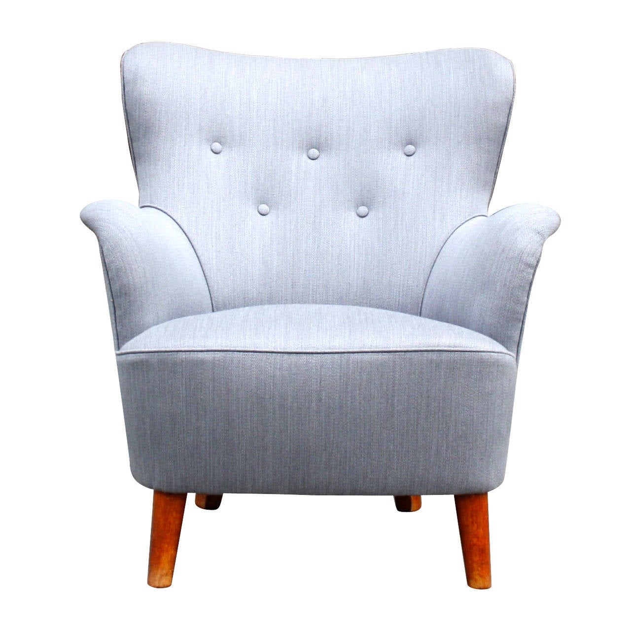 small scale upholstered dining chairs steel chair long beautiful grey wingback armchair at 1stdibs