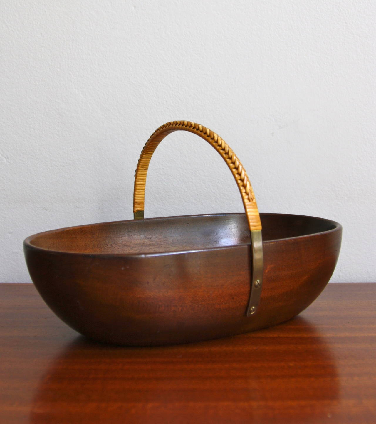 Wicker Bowl Chair Carl Auböck Large Bowl With Brass And Wicker Handle At 1stdibs