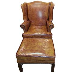 Leather Tufted Chair And Ottoman Genuine Executive Fine Wingback At 1stdibs