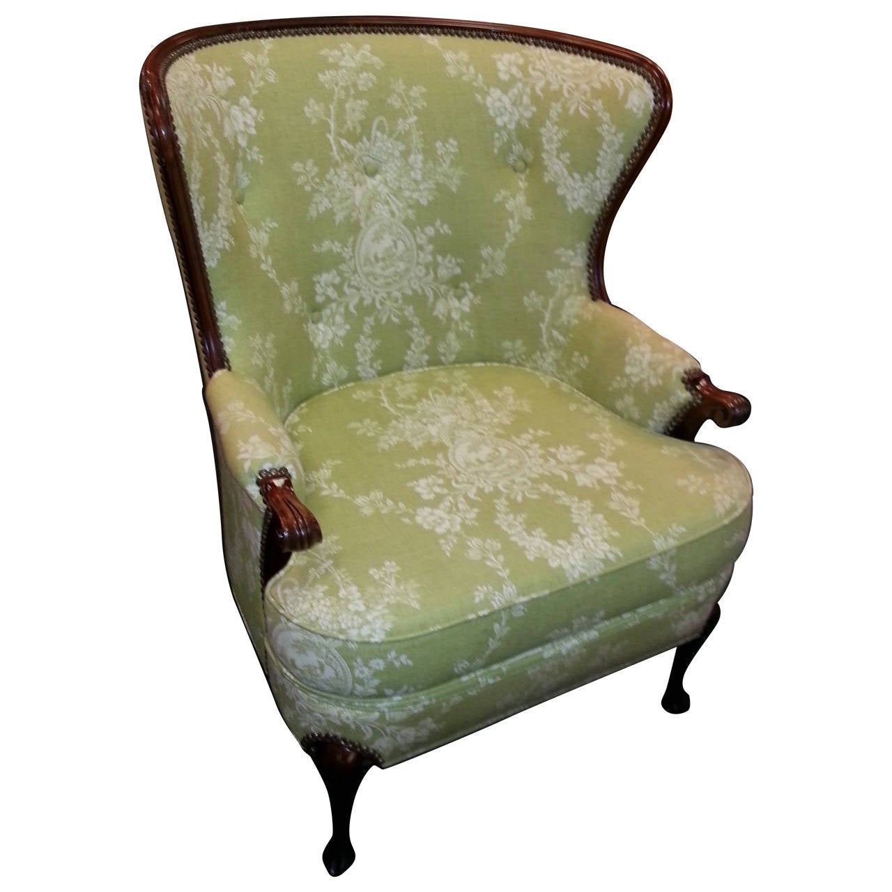 Toile Chair Wingback Chair Upholstered In Lime Green Toile At 1stdibs