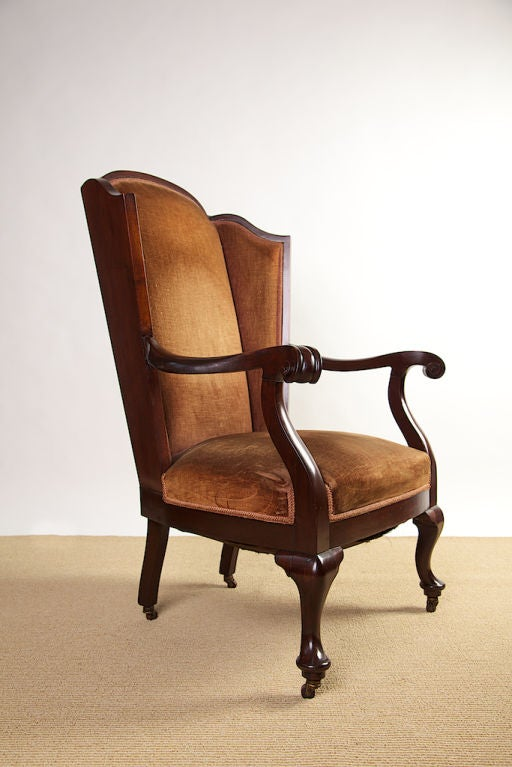queen anne wing chair wood restaurant chairs victorian back at 1stdibs