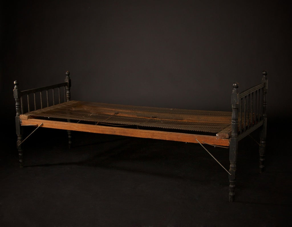 black paint for leather sofa memory foam mattress topper bed folding cot or daybed, circa 1920 at 1stdibs