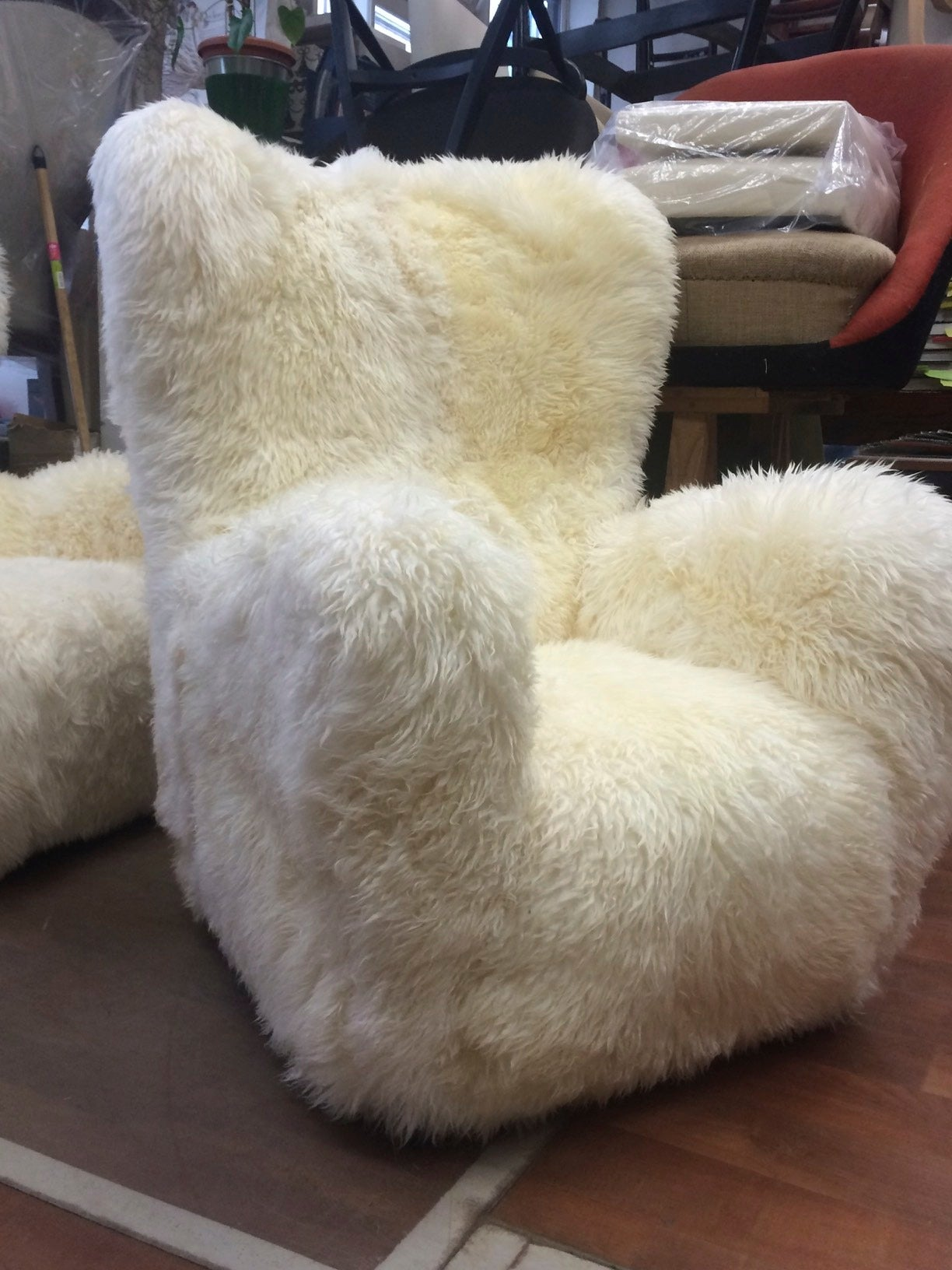 sheepskin chair covers for recliners uk orange recliner fritz hansen large pair of teddy bear club chairs in long