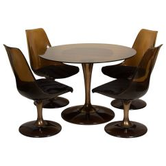 Tulip Dining Room Chairs Folding To Sit On The Floor Amber Glass Top Table And For Sale At